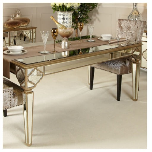 Morocco  range Gold Mirrored Dining Table.