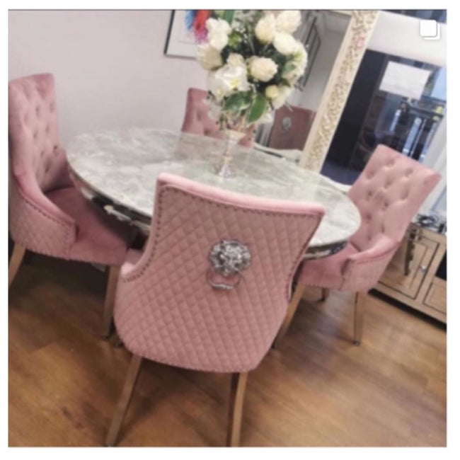 Oxford dining table marble top with lion knocker chairs Pink