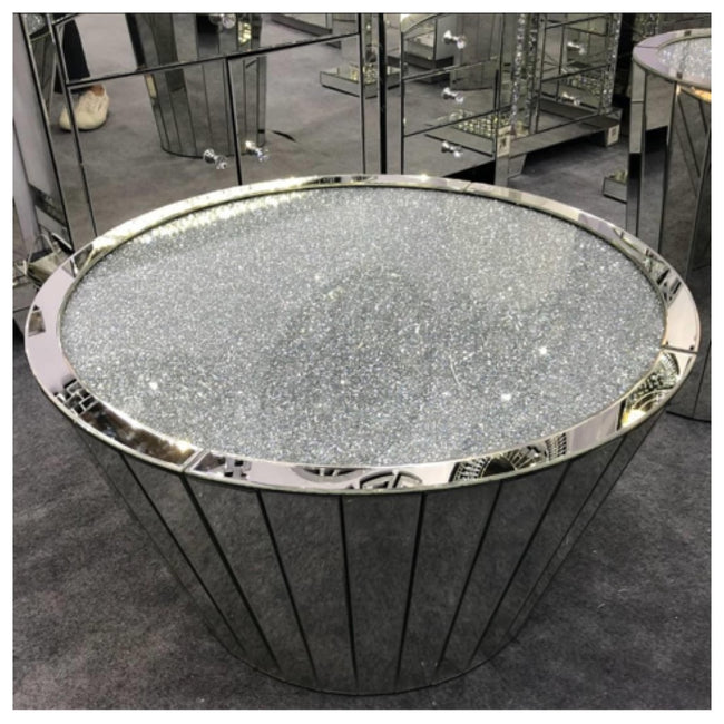 Crushed diamond large oval coffee table