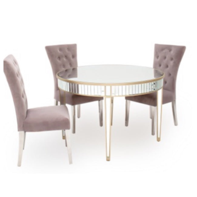 Venice round mirrored dining table