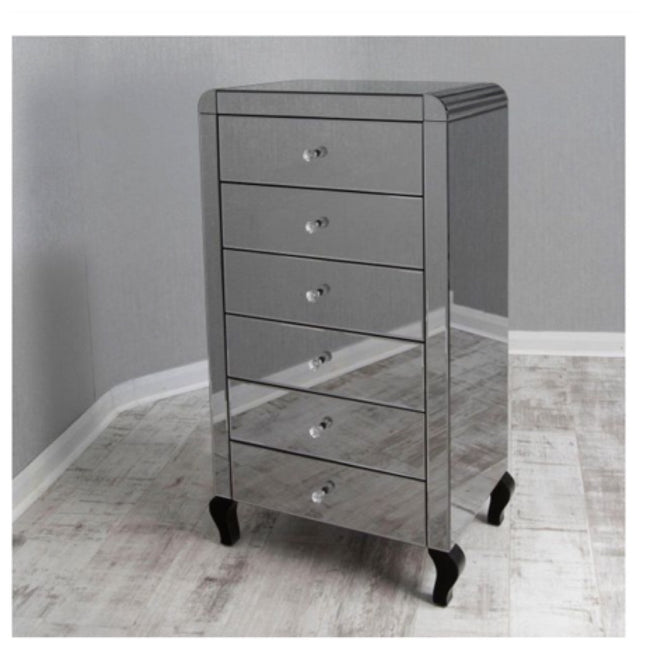 Smoked mirror Tall boy chest of drawers