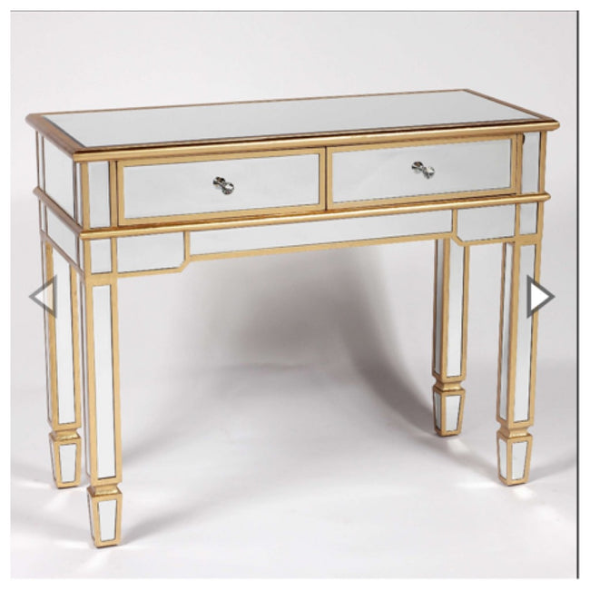 Valencia 2 drawer mirrored console table gold
