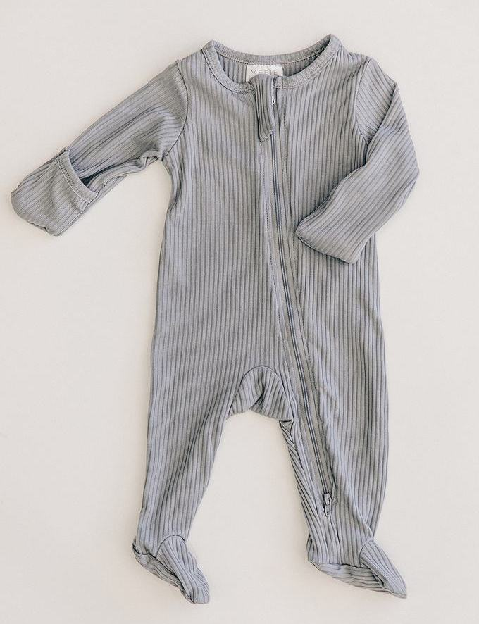 Grey Ribbed Footed Zipper One Piece