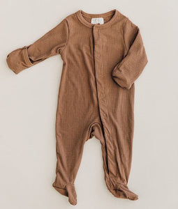 Cocoa Ribbed Footed One Piece