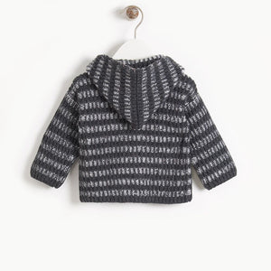Jude Chunky Knit Cardigan in Monochrome