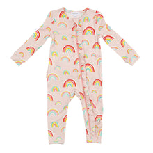 Load image into Gallery viewer, Rainbows Ruffle Front Pink Romper