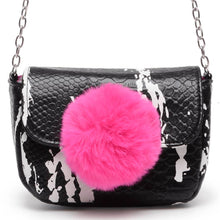 Load image into Gallery viewer, Black & Pink Fur Ball Crossbody Purse