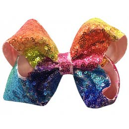 Pastel Rainbow Small Sequin Bow