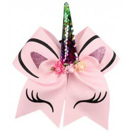 Pink Unicorn Ponytail Holder Bow
