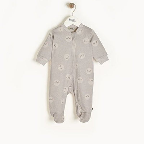 Grey Supermoon Zip Front Sleepsuit