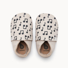 Load image into Gallery viewer, Cream Music Notes Baby Shoe