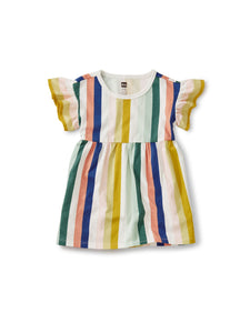 Summer Stripe Ruffle Sleeve Dress