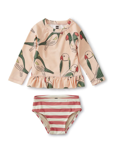 Parakeets Ruffle Rash Guard Set