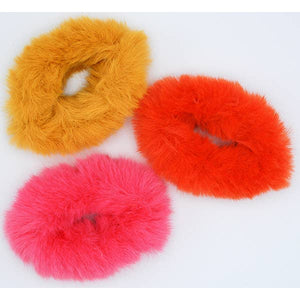 Yellow Pink Orange Furry Scrunchie Set