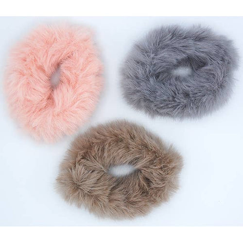 Pink Fawn Grey Furry Scrunchie Set