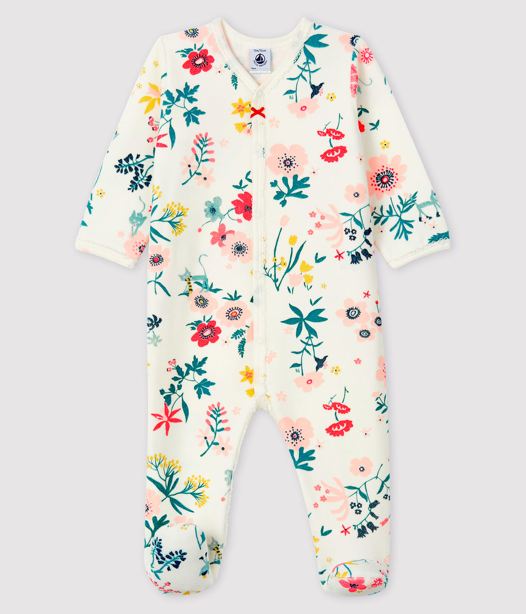 Floral Velour Snap Footie