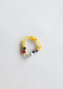 Raw Honey Amber + Chakra Crystals Bracelet 5""