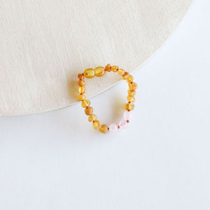 "Raw Honey Amber + Rose Quartz 6"" Bracelet"