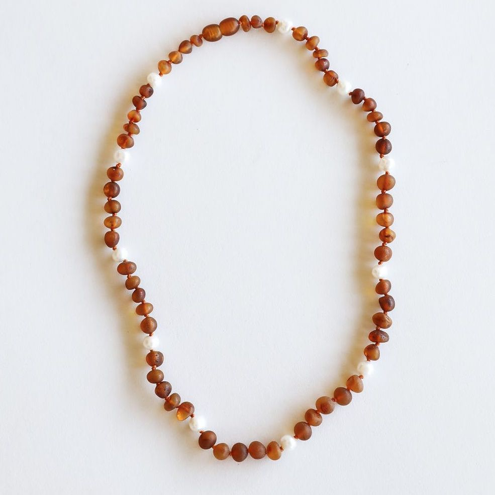 Raw Cognac Amber + Pearls Halo Necklace 12