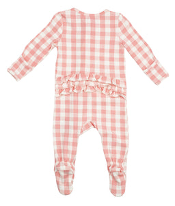 Pink Gingham Ruffle Footie