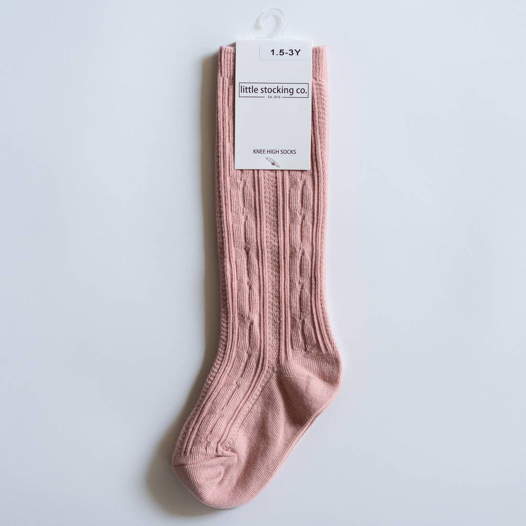 Blush Cable Knit Knee High Socks