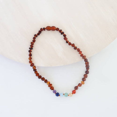 Raw Cognac Amber + Chakra Crystals Necklace 13