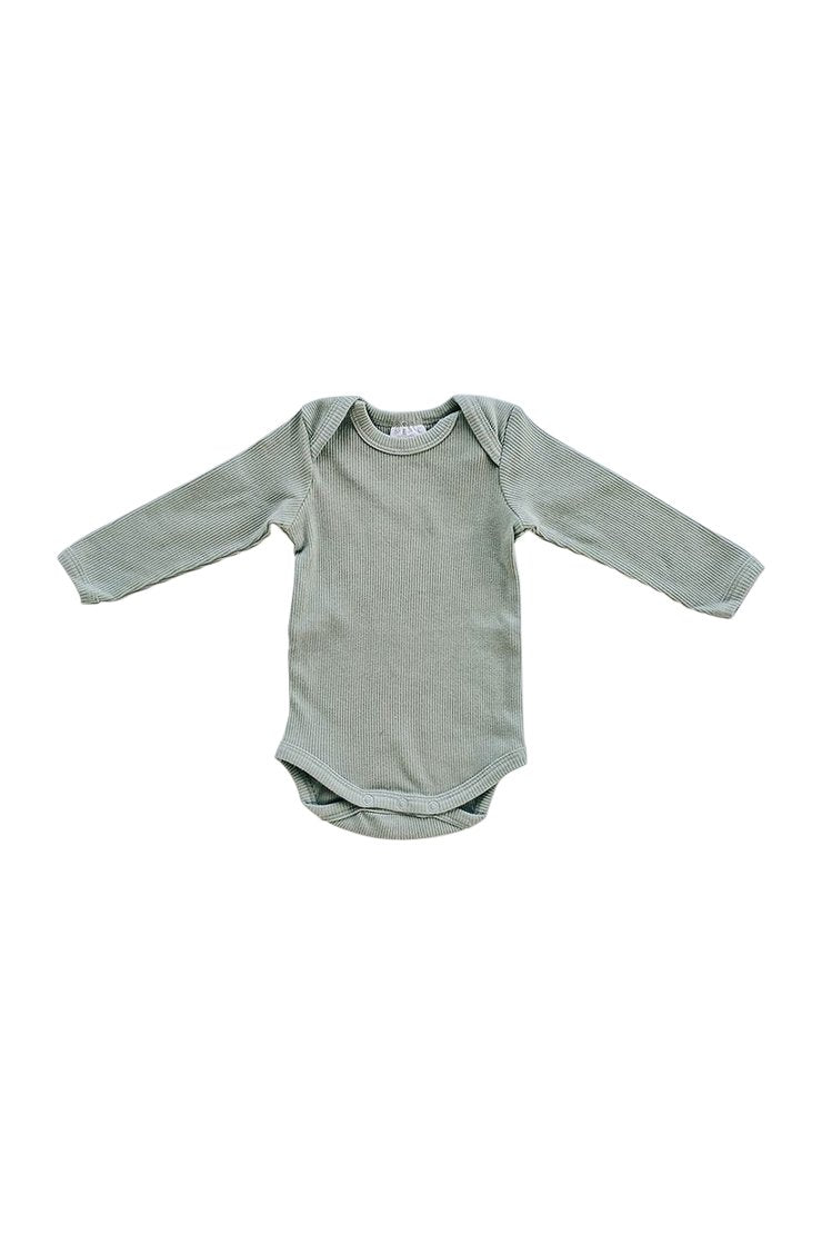 Green Organic Cotton Long Sleeve Ribbed Bodysuit
