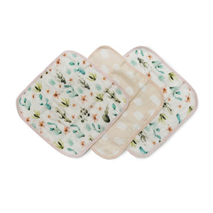 Cactus Floral 3 Piece Washcloth Set