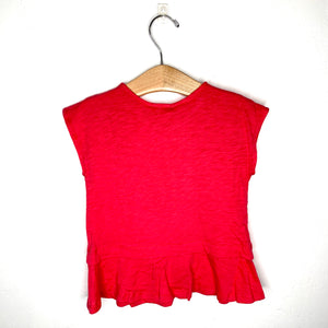 Cherry Red Button Ruffle Top