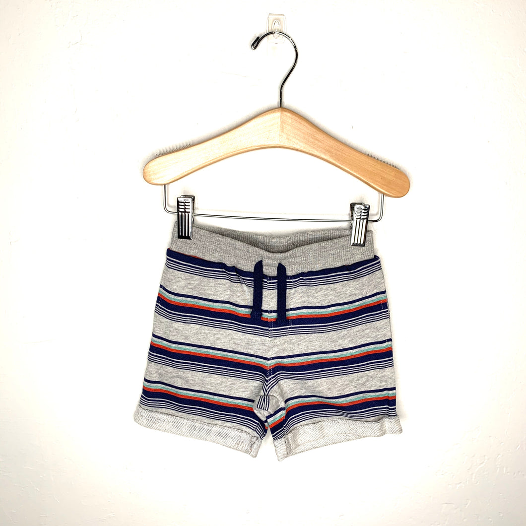 Boys Grey Printed Multi Stripe Short