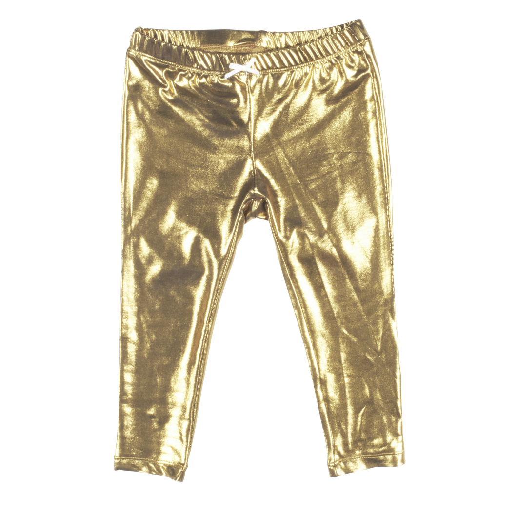 Gold Metallic Lamé Baby Legging