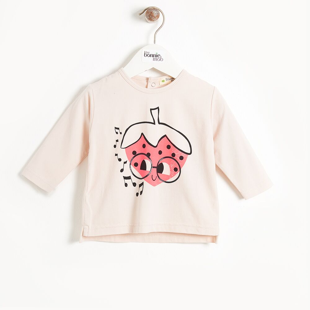 Placed Strawberry Long Sleeve Tee