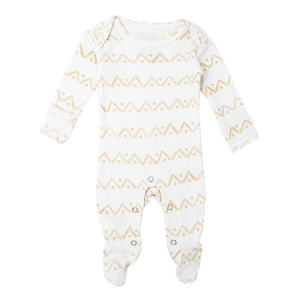 Honey Zigzag Organic Lap-Shoulder Footed Overall