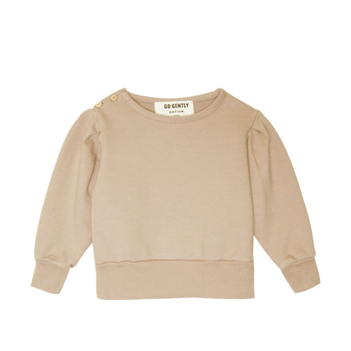 Almond Pleated Sleeve Sweatshirt