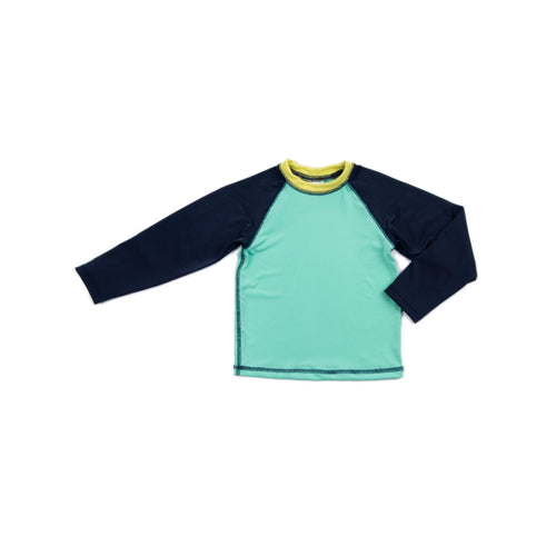 Aqua Navy Colorblock Ronan Rash Guard