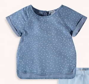Kids Short Sleeve Chambray Dot Top