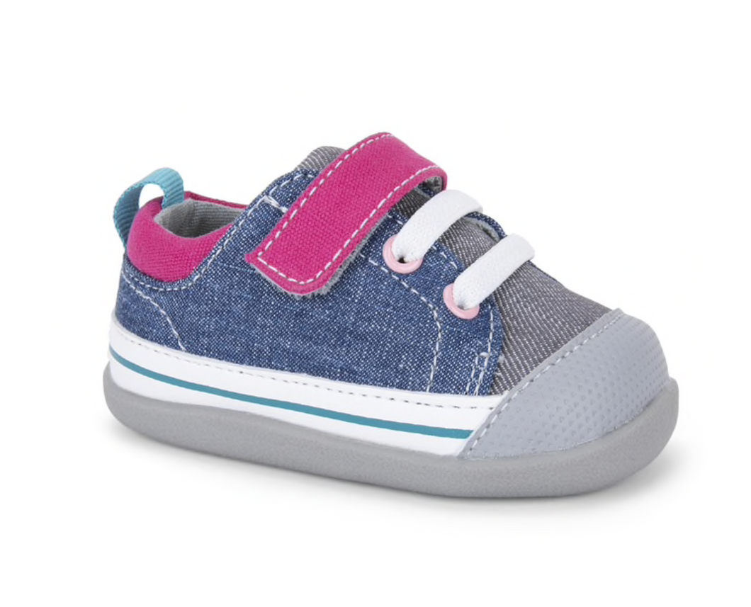 Stevie First Walker Pink Denim