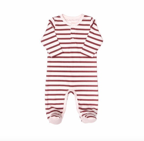 Pink Burgundy Stripes Footie