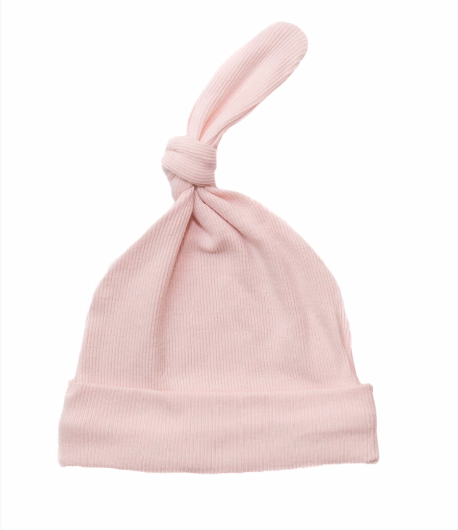 Pink Ribbed Knot Hat