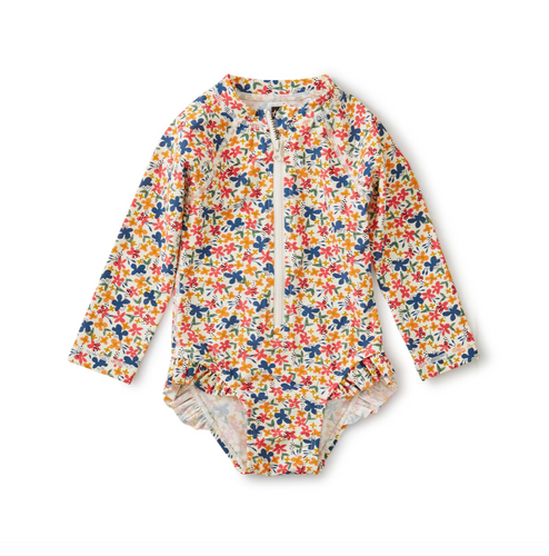 Floral Ruffle Rash Guard One Piece