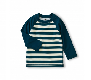 Colorblock Navy Stripe Baby Rash Guard