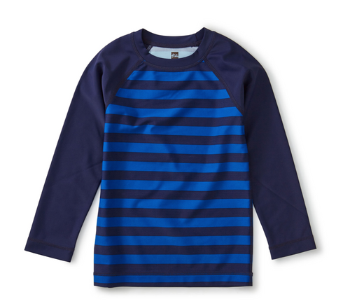 Bright Blue Stripe Printed Long Sleeve Rash Guard
