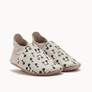 Cream Music Notes Baby Shoe