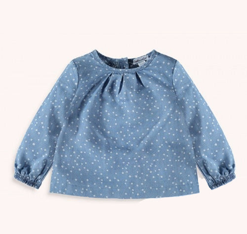 Baby Chambray Polka Dot Top