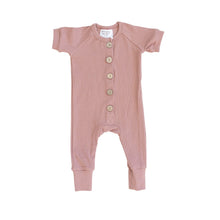 Load image into Gallery viewer, Rose Ribbed Short Sleeve Button Romper
