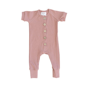 Rose Ribbed Short Sleeve Button Romper