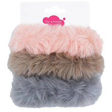 Load image into Gallery viewer, Pink Fawn Grey Furry Scrunchie Set