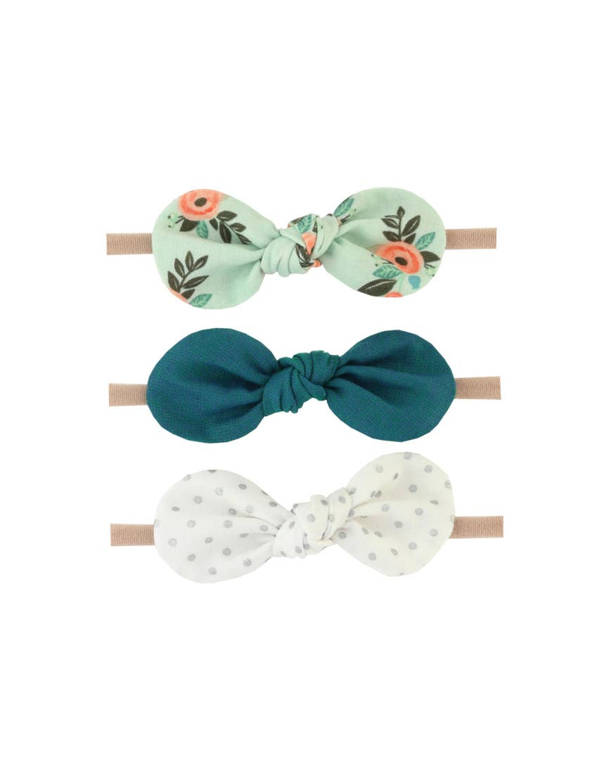 Headband Set - Mint Floral/Turquoise/Silver Dot