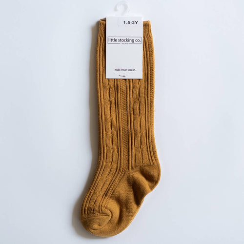 Mustard Cable Knit Knee High Socks