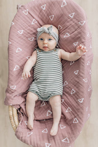 Grey and Oatmeal Knit Bubble Romper